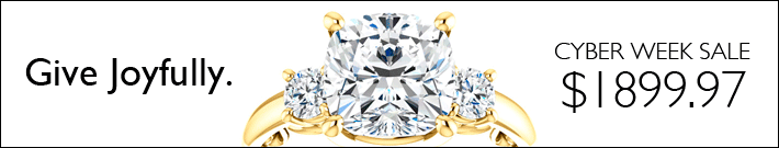 Give joyfully. 3-stone moissanite ring for $1899.97