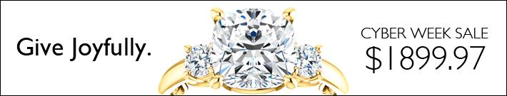 Give joyfully. 3-stone moissanite ring for $1899.97