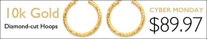 10k Yellow Gold Diamond-cut Round Hoop Earrings 1in