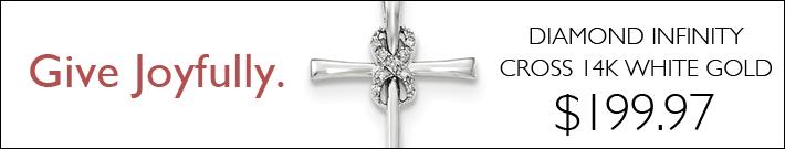 Diamond Infinity Cross Pendant 1in 14k White Gold
