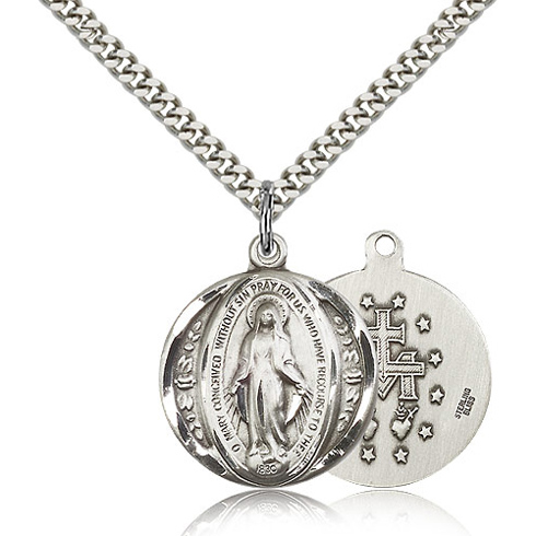 Sterling Silver 3/4in Round Miraculous Medal & 24in Chain