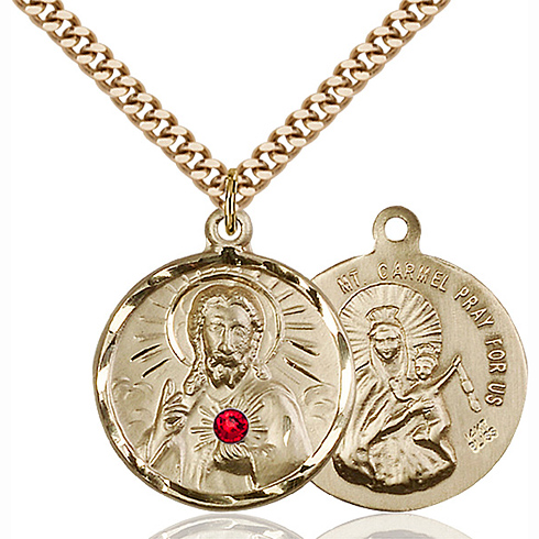 Gold Filled 7/8in Scapular Pendant with 3mm Ruby Bead & 24in Chain