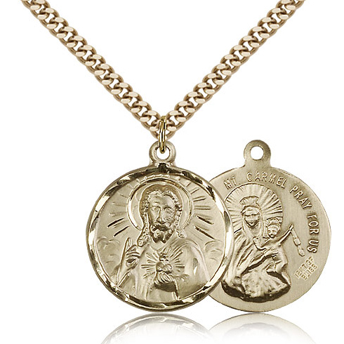 Gold Filled 7/8in Round Scapular Medal & 24in Chain