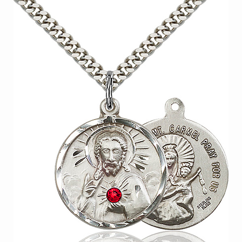 Sterling Silver 7/8in Scapular Pendant with 3mm Ruby Bead & 24in Chain