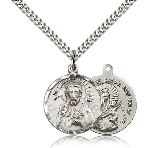 Sterling Silver 7/8in Scapular Medal & 24in Chain