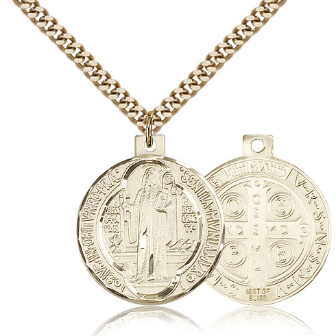 Gold Filled 1in St Benedict Medal & 24in Chain