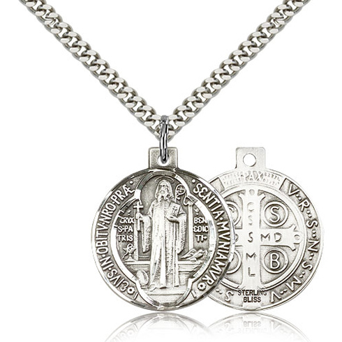 Sterling Silver 7/8in Reversible St Benedict Medal & 24in Chain