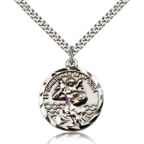 Sterling Silver 1in Round St Christopher Be My Guide Medal & 24in Chain