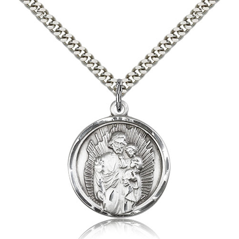 Sterling Silver 1in St Joseph Disc Medal & 24in Chain