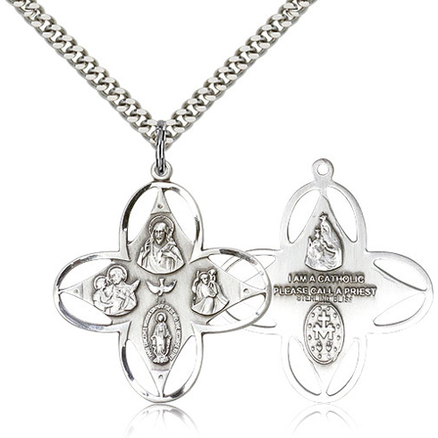 Sterling Silver 1 1/8in Four Way Medal & 24in Chain