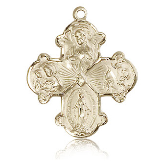 14kt Yellow Gold 1 1/8in Four Way Medal