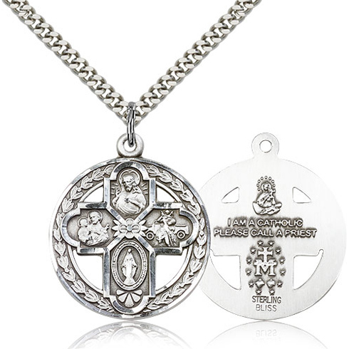 Sterling Silver 1 1/8in Round Four Way Medal & 24in Chain