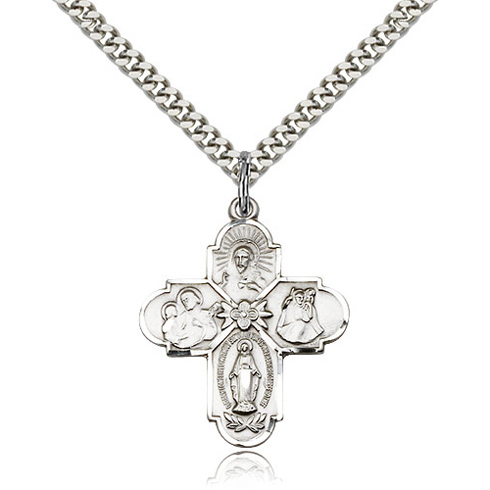 Sterling Silver 1in Four Way Medal & 24in Chain