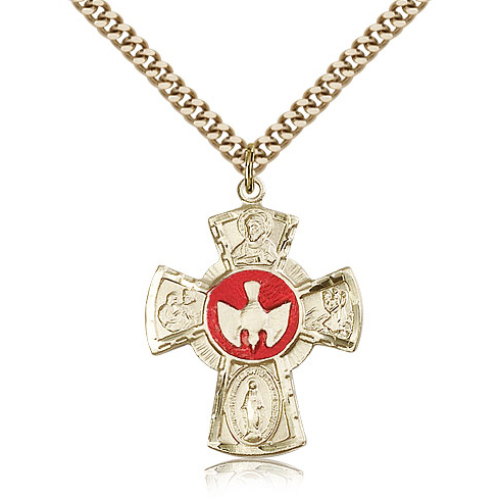 Gold Filled 1 1/8in Enamel Five Way Medal & 24in Chain