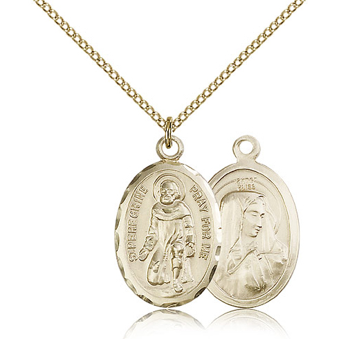 Gold Filled 1in St Peregrine Medal & 18in Chain