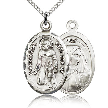 Sterling Silver 1in St Peregrine Medal & 18in Chain