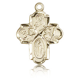 14kt Yellow Gold 3/4in Four Way Medal