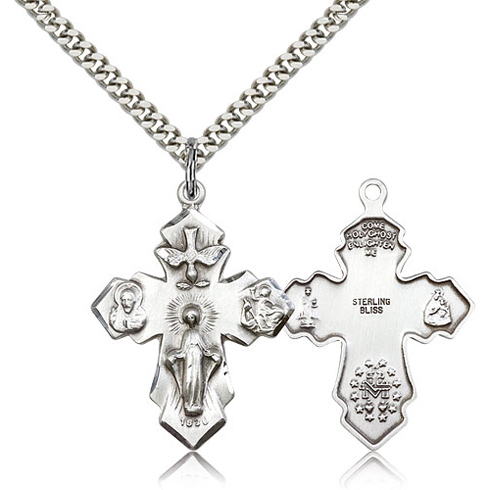 Sterling Silver 1 1/4in Pointed Four Way Medal & 24in Chain