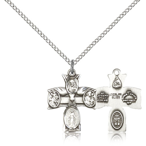 Sterling Silver 3/4in Four Way Medal & 18in Chain