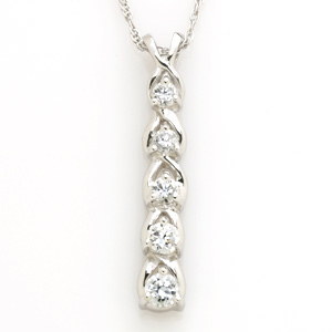 14k White Gold 1/4 CT TW Journey Diamond Drop Pendant with Chain