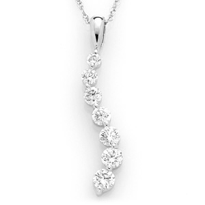 14k White Gold 3/4 CT TW Journey Diamond Pendant with Chain
