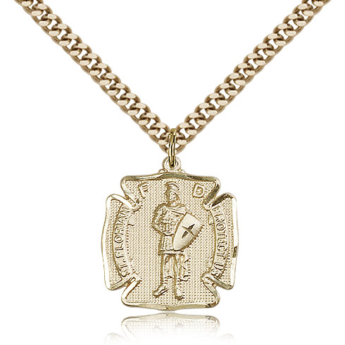 Gold Filled 3/4in St Florian Medal & 24in Chain