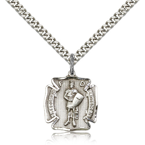 Sterling Silver 3/4in Florian Medal Charm & 24in Chain