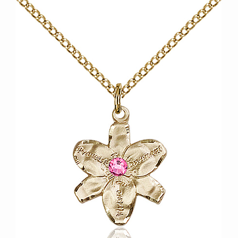 Gold Filled 5/8in Chastity Pendant with 3mm Rose Bead & 18in Chain