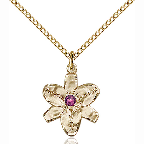 Gold Filled 5/8in Chastity Pendant with 3mm Amethyst Bead & 18in Chain