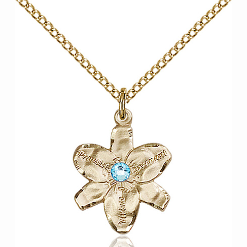 Gold Filled 5/8in Chastity Pendant with 3mm Aqua Bead & 18in Chain