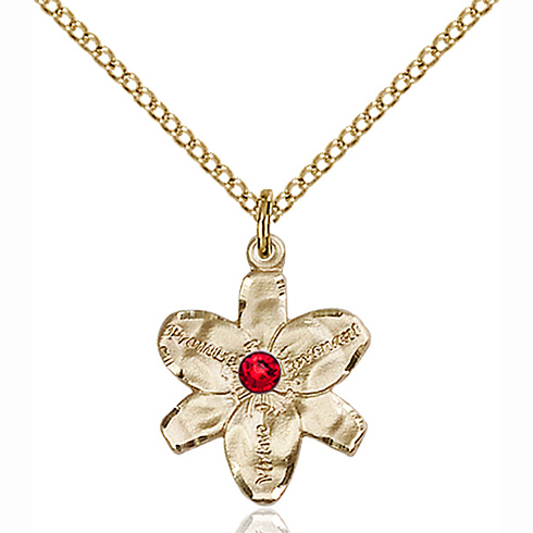 Gold Filled 5/8in Chastity Pendant with 3mm Ruby Bead & 18in Chain