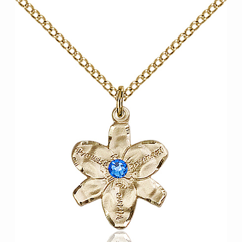 Gold Filled 5/8in Chastity Pendant with 3mm Sapphire Bead & 18in Chain