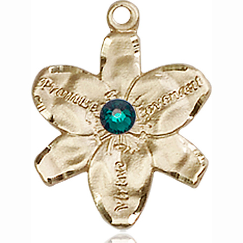 14kt Yellow Gold 5/8in Chastity Medal with 3mm Emerald Bead