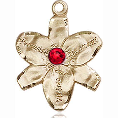14kt Yellow Gold 5/8in Chastity Medal with 3mm Ruby Bead