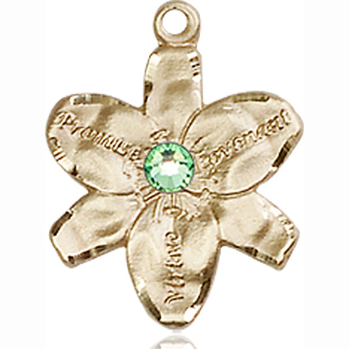 14kt Yellow Gold 5/8in Chastity Medal with 3mm Peridot Bead