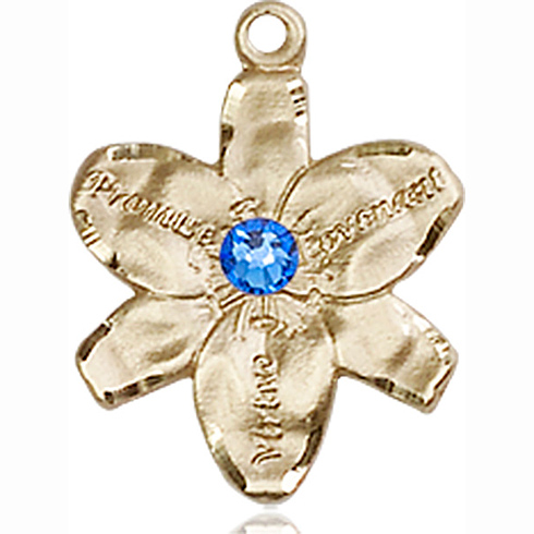 14kt Yellow Gold 5/8in Chastity Medal with 3mm Sapphire Bead