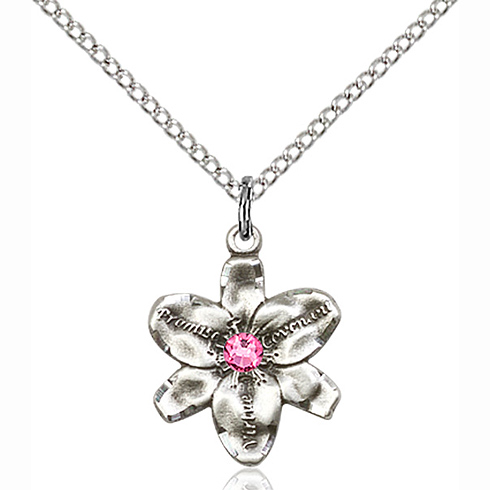 Sterling Silver 5/8in Chastity Pendant with 3mm Rose Bead & 18in Chain