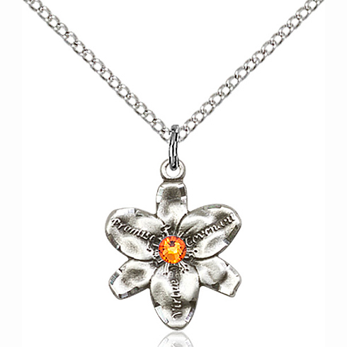 Sterling Silver 5/8in Chastity Pendant with 3mm Topaz Bead & 18in Chain