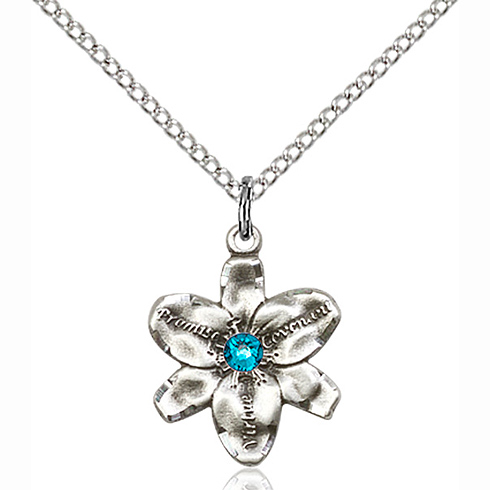 Sterling Silver 5/8in Chastity Pendant with 3mm Zircon Bead & 18in Chain