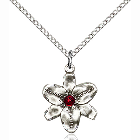 Sterling Silver 5/8in Chastity Pendant 3mm Garnet Bead & 18in Chain