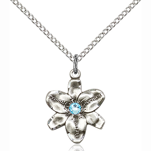 Sterling Silver 5/8in Chastity Pendant with 3mm Aqua Bead & 18in Chain