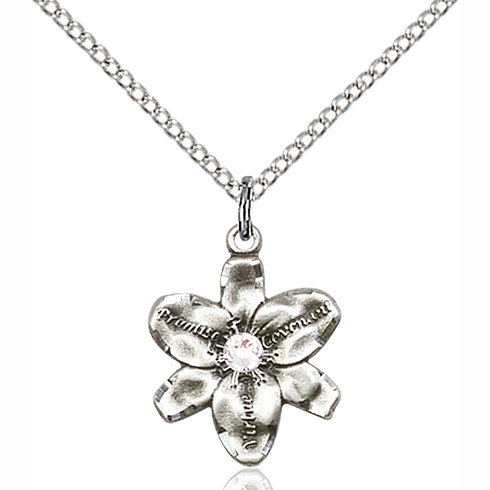 Sterling Silver 5/8in Chastity Pendant with 3mm Crystal Bead & 18in Chain