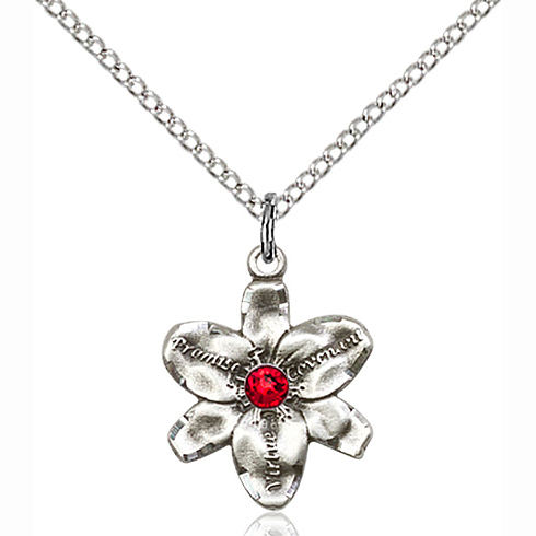 Sterling Silver 5/8in Chastity Pendant with 3mm Ruby Bead & 18in Chain