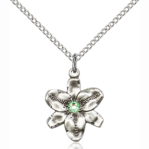 Sterling Silver 5/8in Chastity Pendant with 3mm Peridot Bead & 18in Chain