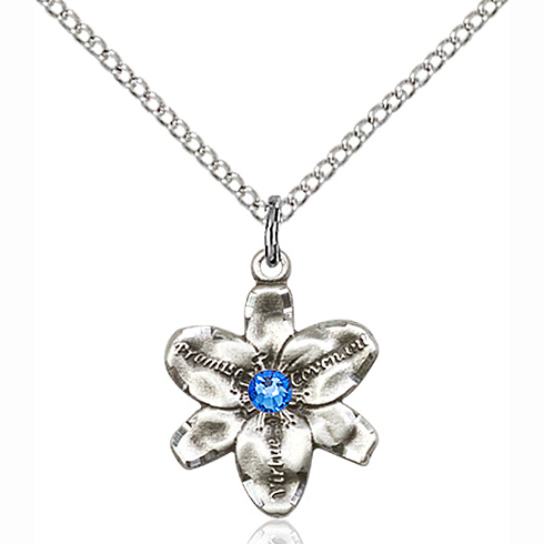 Sterling Silver 5/8in Chastity Pendant with 3mm Sapphire Bead & 18in Chain