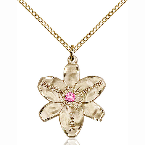 Gold Filled 7/8in Chastity Pendant with 3mm Rose Bead & 18in Chain