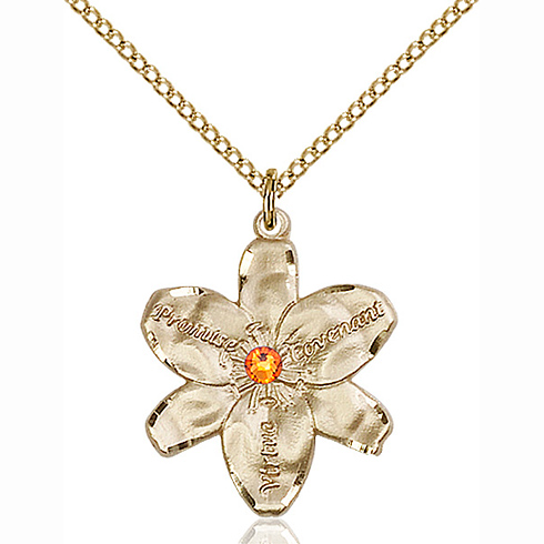 Gold Filled 7/8in Chastity Pendant with 3mm Topaz Bead & 18in Chain
