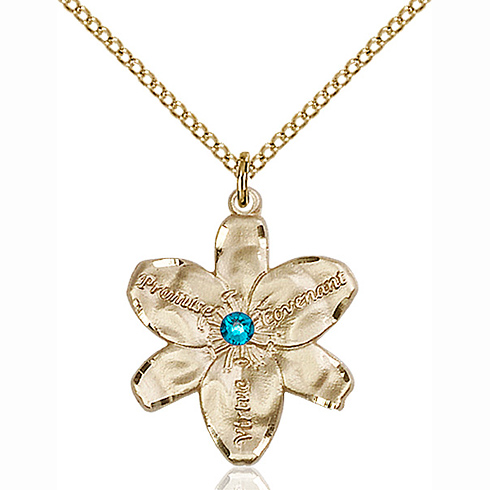 Gold Filled 7/8in Chastity Pendant with 3mm Zircon Bead & 18in Chain
