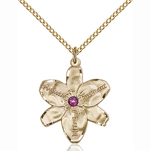 Gold Filled 7/8in Chastity Pendant with 3mm Amethyst Bead & 18in Chain