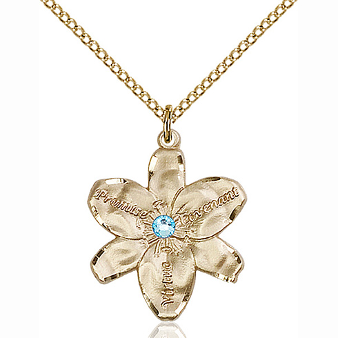 Gold Filled 7/8in Chastity Pendant with 3mm Aqua Bead & 18in Chain